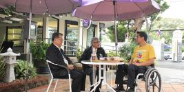 Dr. Tej Bunnag, APCD Chairperson (middle) and Mr. Piroon Laismit, APCD Executive Director (Left) shared the impact of Project in Thai society with Mr. Krisana Lalai, wheelchair user, as show Host.